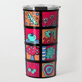 Apples Trees and Flowers Mini Doodle Art - Black Red Blue Travel Mug