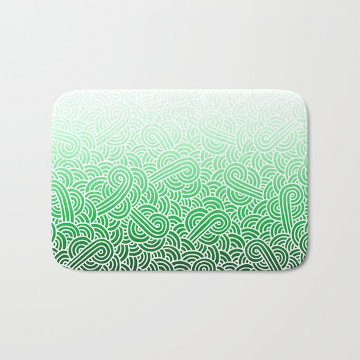 Ombre green and white swirls doodles Bath Mat