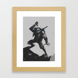 Blue Turtle Sketch Framed Art Print