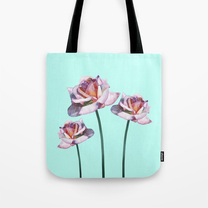 Roses and little frogs Tote Bag