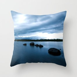 Dark Blue Tranquil Lake in Iceland Throw Pillow