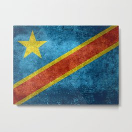National flag of the Democratic Republic of the Congo, Vintage version (to scale) Metal Print