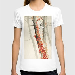 Sparrows in the forest - Vinatage Japanese woodblock print T-shirt