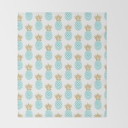 Elegant faux gold pineapple pattern Throw Blanket