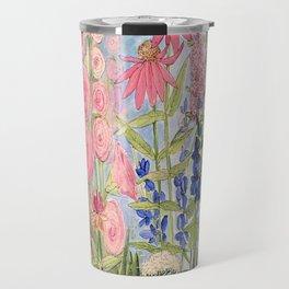 Flowers Garden Acrylic Painting Travel Mug