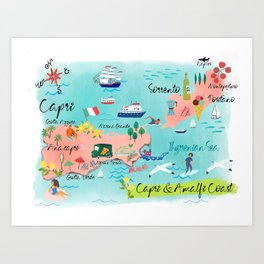 Capri and Amalfi Coast illustrated map Art Print