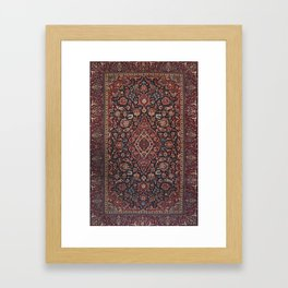 Central Persia Kashan Old Century Authentic Colorful Red Blue Purple  Vintage Patterns Framed Art Print