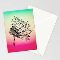 Native American Spiritual Feather Headdress Stationery Cards