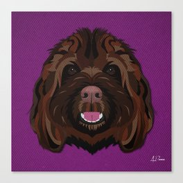 Icons of the Dog Park Labradoodle Design in Bold Colors for Pet Lovers Canvas Print