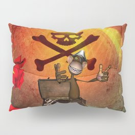 Funny pirate monkey with flag Pillow Sham