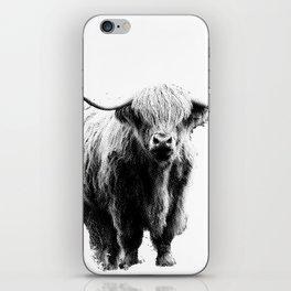 Newspaper Print Style Highland Cow. Scotland, Bull, Horns. iPhone Skin