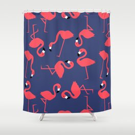 fluorescent flamingos Shower Curtain
