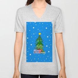 Merry Christmas Whimsical Tree Unisex V-Neck