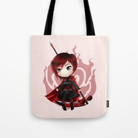 rwby Tote Bags featuring Ruby by Louiology