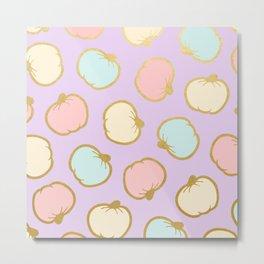 Pastel Pumpkin Pattern with Gold Metal Print