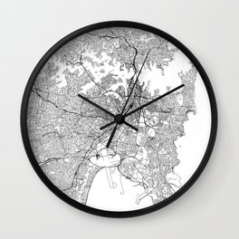 Sydney White Map Wall Clock