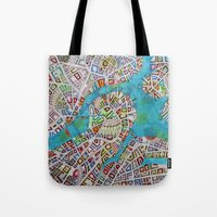 boston map Tote Bags featuring imaginary map of boston  by Federico Cortese