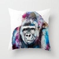 gorilla Throw Pillows featuring Gorilla by Slaveika Aladjova