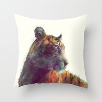 monika strigel Throw Pillows featuring Tiger // Solace by Amy Hamilton