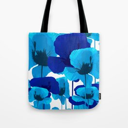 Blue And Turquoise Poppies On A White Background #decor #society6 #buyart Tote Bag