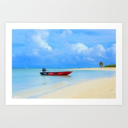 Caribbean See and the Boat Art Print