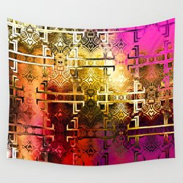 1001 Lights Pattern (gold-magenta-vermillion) Wall Tapestry