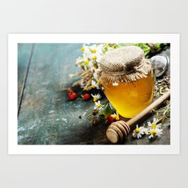 Honey and Herbal tea on wooden background Art Print