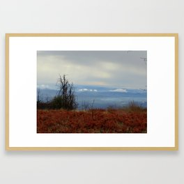 Red and Blue Mountaintop Framed Art Print
