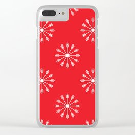 Snowflakes - red and white Clear iPhone Case