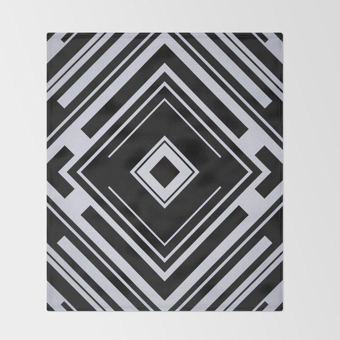 Black and White Tribal Pattern Diamond Shapes Geometric Geometry Contrast I Throw Blanket