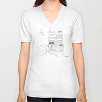 cheese V-neck T-shirts featuring Say Cheese by Dario Olibet