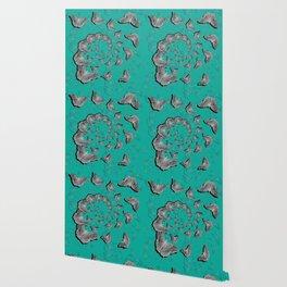A swirl of gray butterflies on teal background Wallpaper