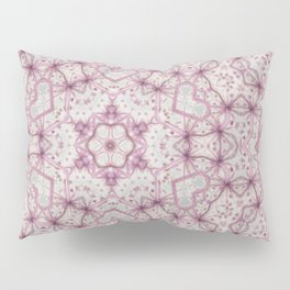Vintage Raspberry Pink and Paris Gray Earth Mandala with Hearts Pillow Sham