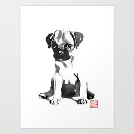 waiting dog Art Print