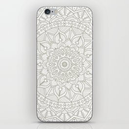 Gray Circle of Life Mandala on White iPhone Skin