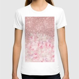 Girly pink boho floral rose gold glitter T-shirt