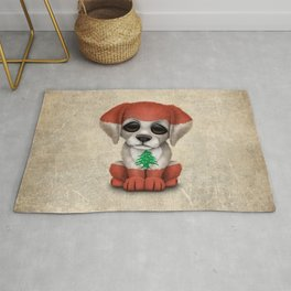 Cute Puppy Dog with flag of Lebanon Rug