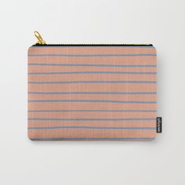 Dusky Sky Blue 27-23 Hand Drawn Horizontal Lines on Earthen Trail Pink 4-26 Carry-All Pouch