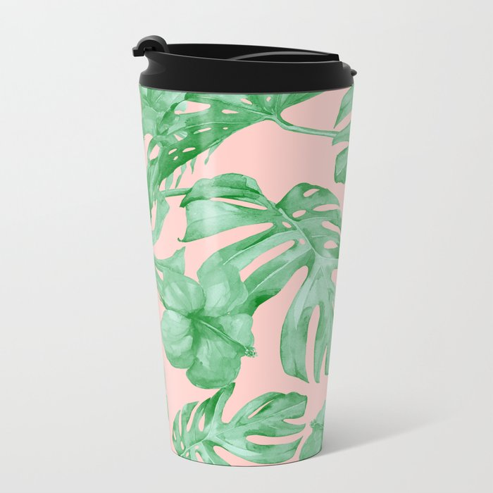 Island Life Coral Pink + Green Metal Travel Mug