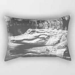 American Alligator Black and White Photography Rectangular Pillow