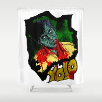 yolo Shower Curtains featuring Yolo COLOUR! by PCRK