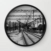 train Wall Clocks featuring Train by Maressa Andrioli