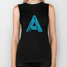 A is for Angelfish - Animal Alphabet Series Biker Tank