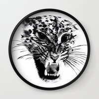 snow leopard Wall Clocks featuring Snow Leopard by pbnevins