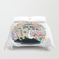 mushrooms Duvet Covers featuring Mushrooms by Asja Boros