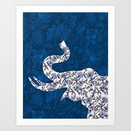 Block Print Half Elephant Wall Art Art Print