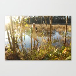 girl in swamp Canvas Print