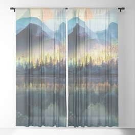 Mountain Lake Under Sunrise Sheer Curtain