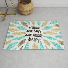 If Mama Ain't Happy – Turquoise & Gold Palette Rug