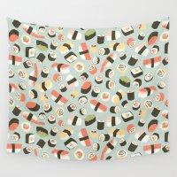 sushi Wall Tapestries featuring Yummy Sushi! by Eine Kleine Design Studio